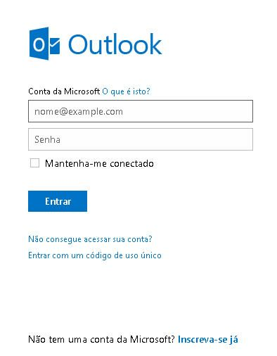 Tela de Login do Outlook