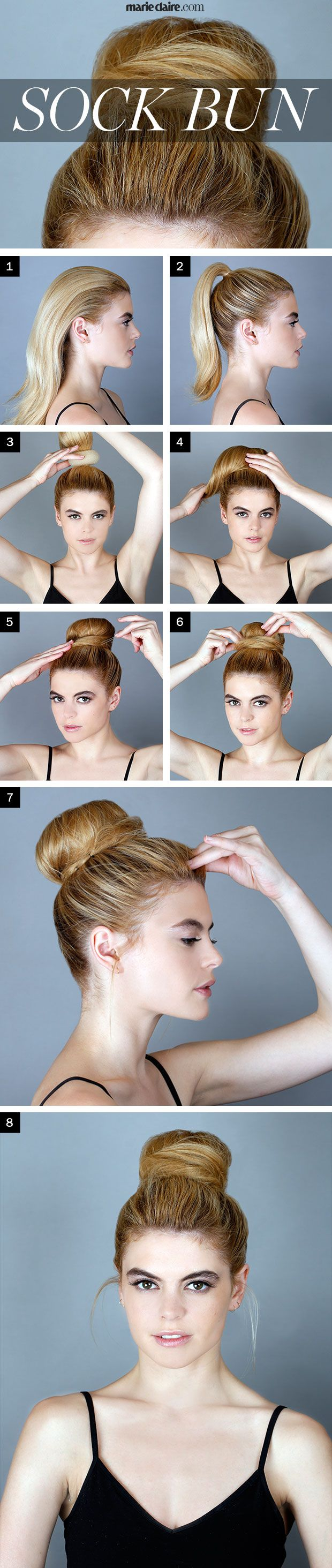 Hair How-To: Sock Bun | MarieClaire.com