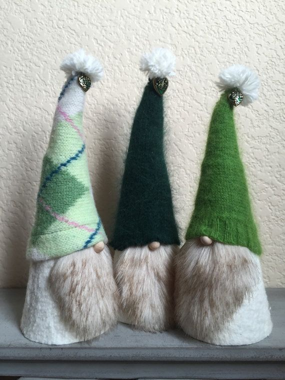 Perfect for St. Patricks Day! These whimsical Tomten have been lovingly created from felt and wool. Their hats are hand stitched with