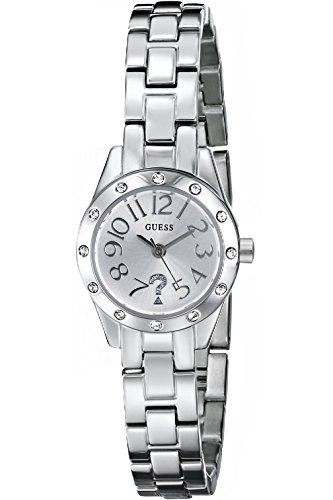 GUESS W0307L1 SilverTone Watch with Genuine Crystal Accents  SelfAdjustable Brac...