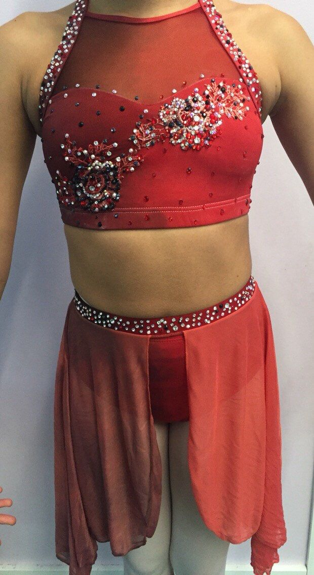 Amazing one of a kind dance costume on etsy!   Hand Dip Dyed Custom Ombre Dance Costume Competition Red Black Applique Rhinestone Three Piece Solo Rose Adult Lyrical contemporary jazz    #attitudesdesignsfordance https://www.etsy.com/listing/264798097/hand-dip-dyed-custom-ombre-dance-costume