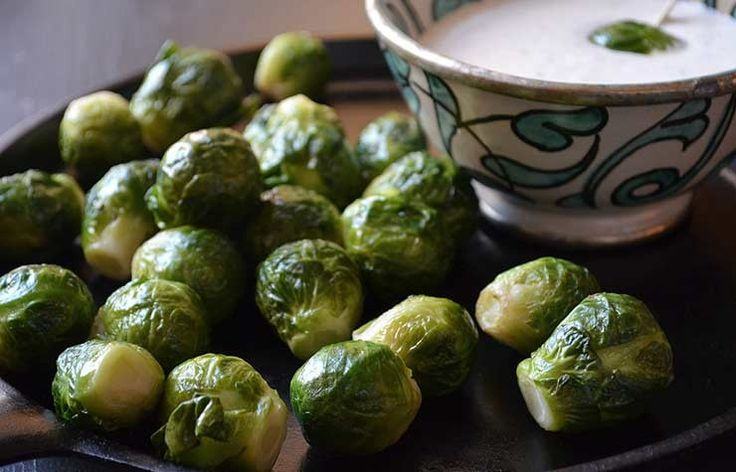 Roasted Brussels Sprouts With Horseradish Dip