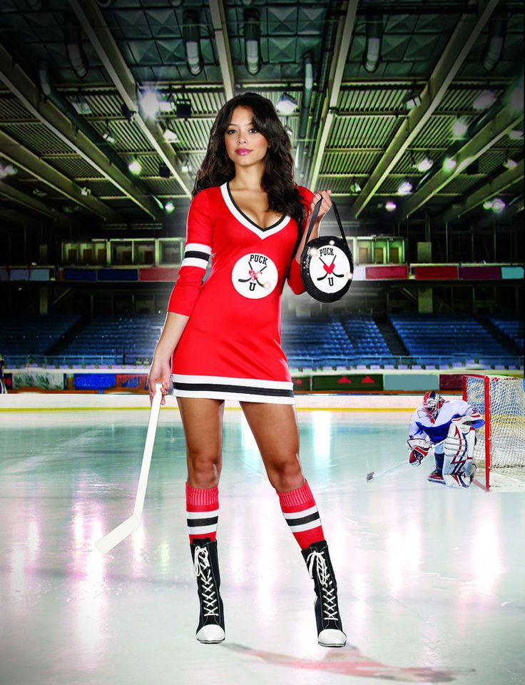Sexy Adult Halloween Women's Puck U Hockey Player Costume Uniform w Mini Stick #Dreamgirl #CompleteCostume