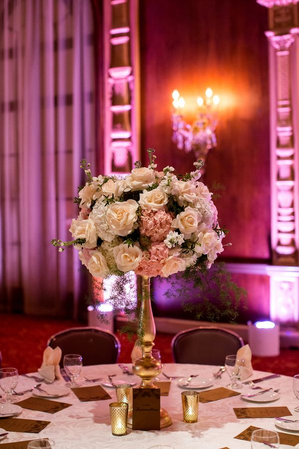 Elegant tall wedding centerpiece with roses and hydrangea (Photo by Kevin Le Vu Photography)