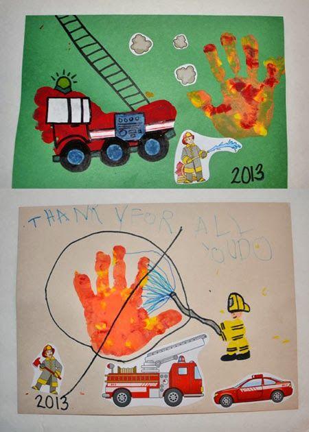 Footprint Firetruck - Thank you card for Firefighters