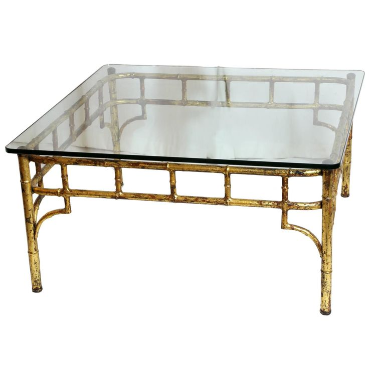 Gilded Iron Faux Bamboo Glass Topped Cocktail Table For Sale at 1stdibs