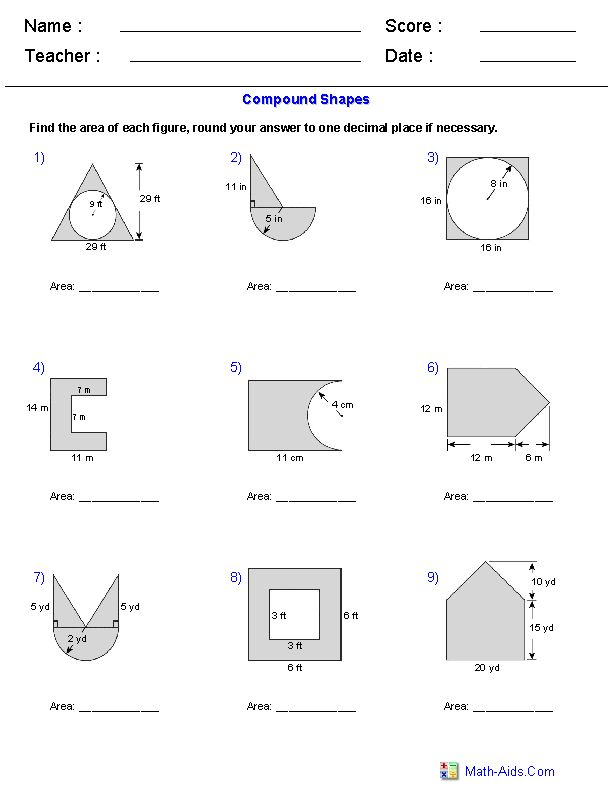 Area of Compound Shapes Adding and Subtracting Regions Worksheets