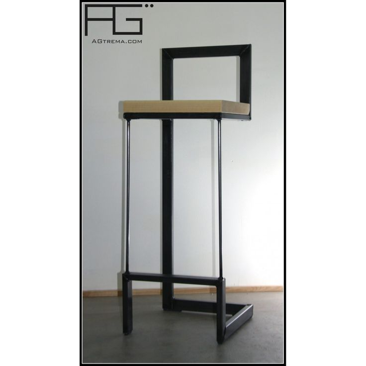 tabouret de bar artisanal buccula en acier vernis et erable bois massif agtrema achat. Black Bedroom Furniture Sets. Home Design Ideas