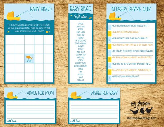printable fishing baby shower game package includes baby bingo
