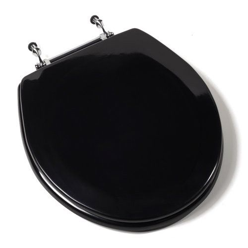 Comfort Seats C1B4R2-90CH Deluxe Molded Wood Toilet Seat with Chrome Hinges Round, Black