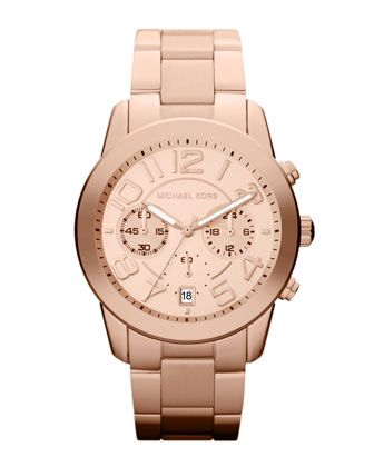 Michael Kors Mid-Size Rose Golden Stainless Steel Mercer Chronograph Watch.