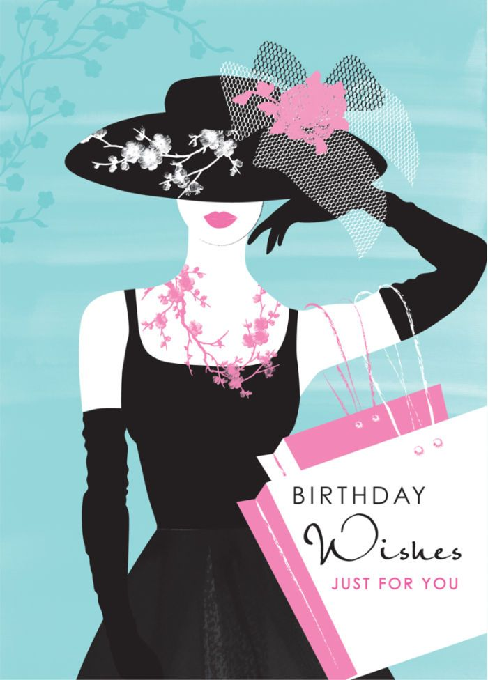 funny wedding card messages for friends%0A Debbie Edwards  Female Birthday Wife Mothers Day Lady In Black Dress And  Shopping Bags
