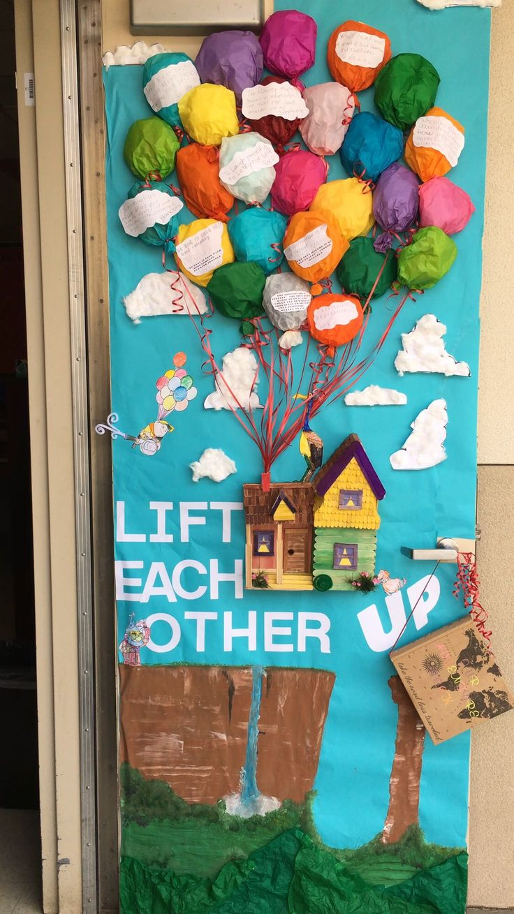 Anti Bullying Week. Door decorating competition. Up movie. Lift each other up. Disney door