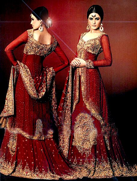 full sleeves red bridal lengha - I love the long blouse style with the cut in the middle!