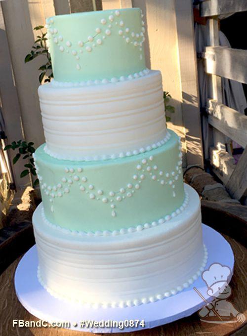 "Design W 0874 | Butter Cream Wedding Cake | 12""+10""+ 8""+6"" | Serves 120| Tinted Mint Green Buttercream on alternating tiers, Scraped Buttercream texture, white dot drape pattern | Custom Quote"