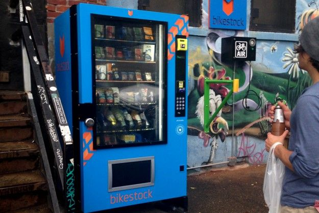 Tubes, oil, ponchos, patch kits, drinks and more located in this all-in-one bike repair machine.