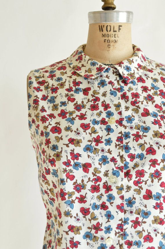 Vintage Floral Print Blouse 1950s Sleeveless Top by DalenaVintage