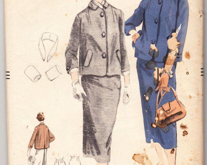 Vintage 1952 Vogue 3457 FF Sewing Pattern Misses' Coat Dress and Skirt Size 11 Bust 30-1/2
