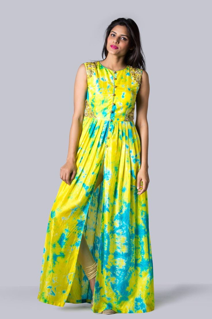 SC760: Yellow and turquoise blue Tie Dye pleated tunic!!We can customize the colour   size as per your requirement.To order  WhatsApp on 9949944178 or mail us @issadesignerstudio@gmail.com  06 February 2017