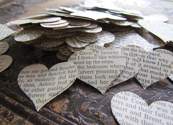 """Gone with the Wind"" paper hearts wedding table confetti 500 pieces heart by shredlock"