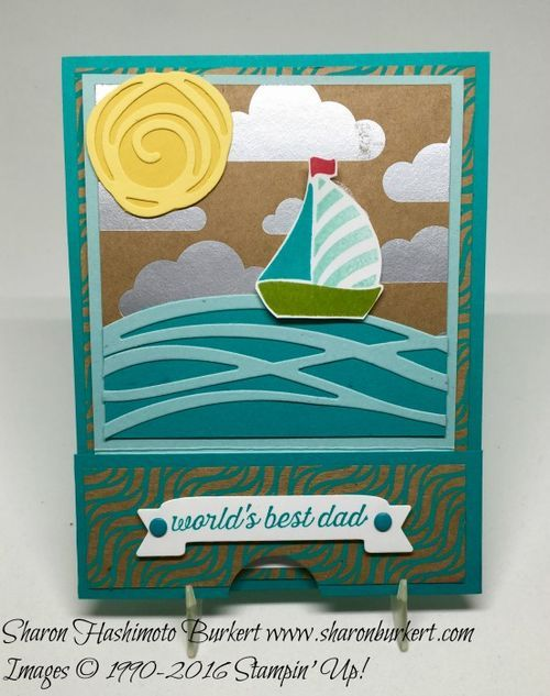 handmade Father's Day card ... die cuts from Swirly Bird ... sea scene with boat, waves, sun and clouds ... Stampin' Up!