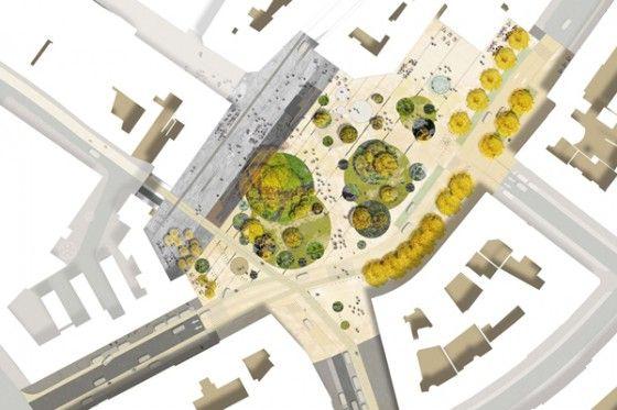 Aménagement de la place d'Austerlitz àStrasbourg Kruntenau en 2012 par Digitale Paysagepour laCommunauté Urbaine de Strasbourg et la ville de Strasbourg