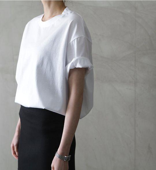 oversized white rolled sleeve top & black skirt #style #fashion