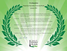 Proclamation from Stony Plain, Alberta; January 2012.