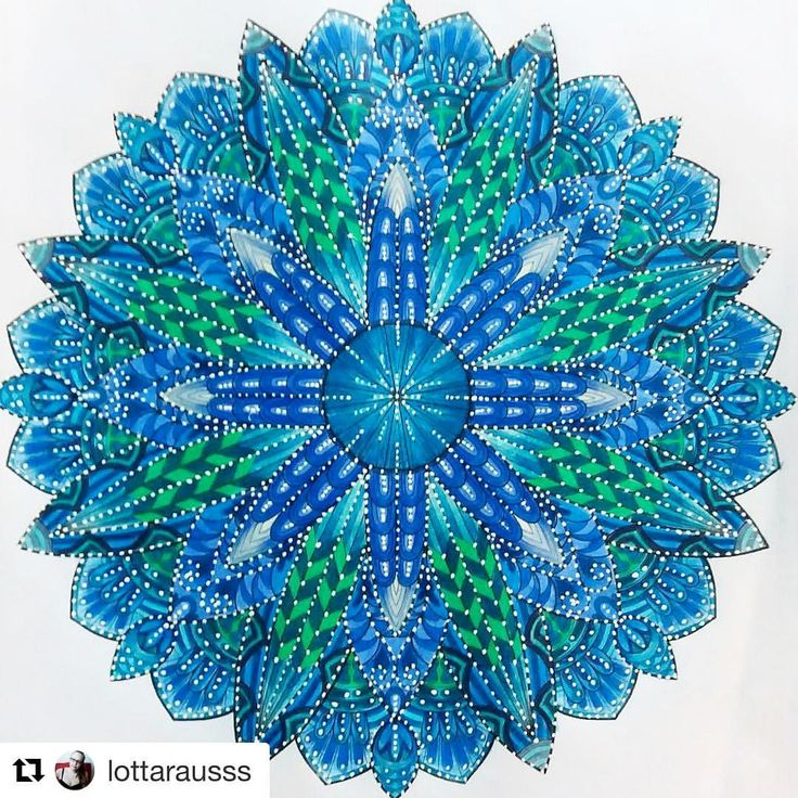 "Mental Images Coloring Books (@paivivesala_art) on Instagram: ""Amazing mandala!  Colored by @lottarausss Book: Mental Images vol 2 colouring book by Päivi…"""