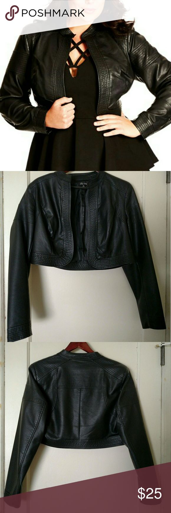 Moto bolero jacket Faux leather with stich detailing. Open front, Mandarin collar and padded shoulders. City Chic Jackets & Coats