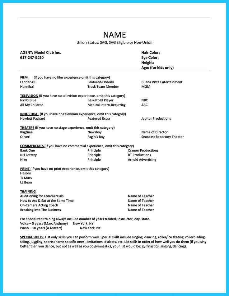 594 best resume samples images on pinterest resume templates - Sample Of Acting Resume