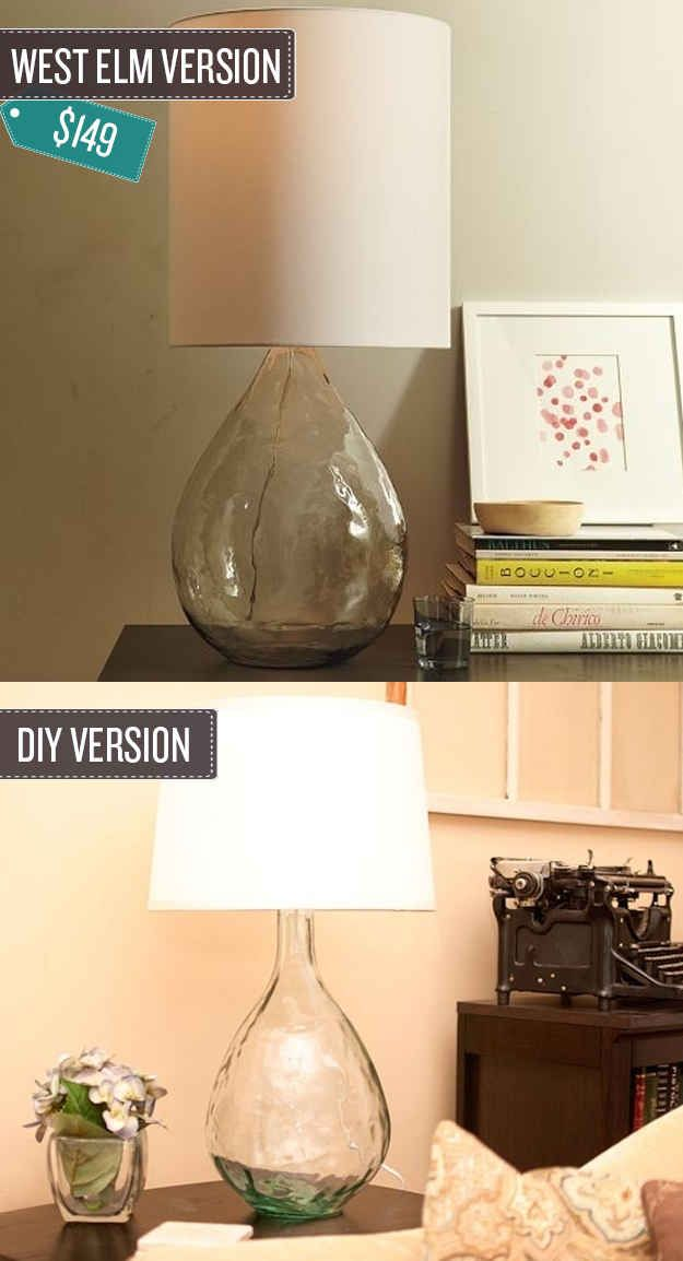 Love this! :)  Turn a glass vase into a lamp. | 24 West Elm Hacks
