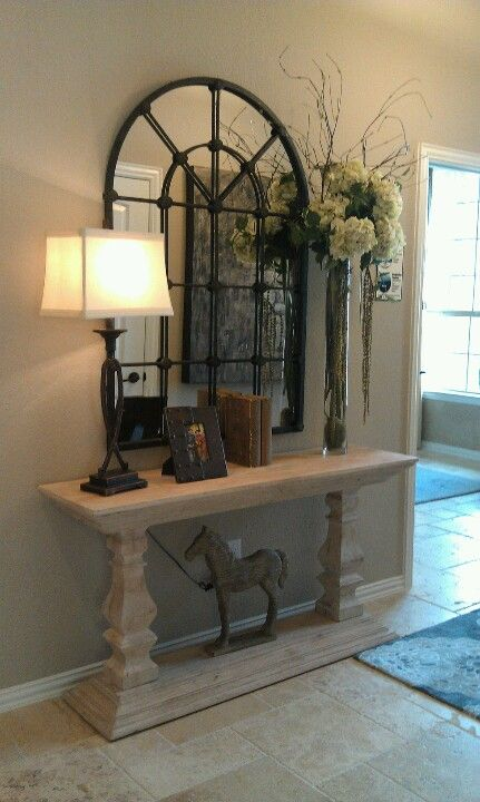 Entry way idea - love the mirror!
