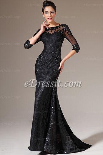 eDressit 2014 New Black Half Sleeves Lace Evening Gown (02140700)  www.edressit.com