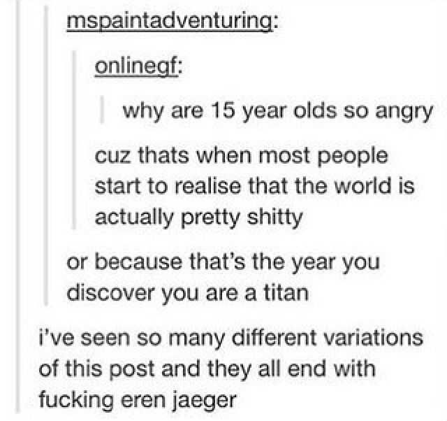 """Eren was the first to come to my mind when she said """"15 y.o"""" and """"angry"""""""