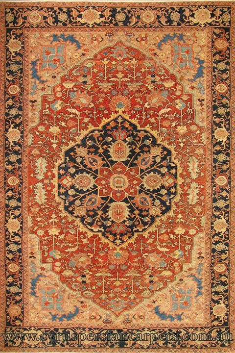 Antique Persian Heriz Hand Knotted Wool Rug
