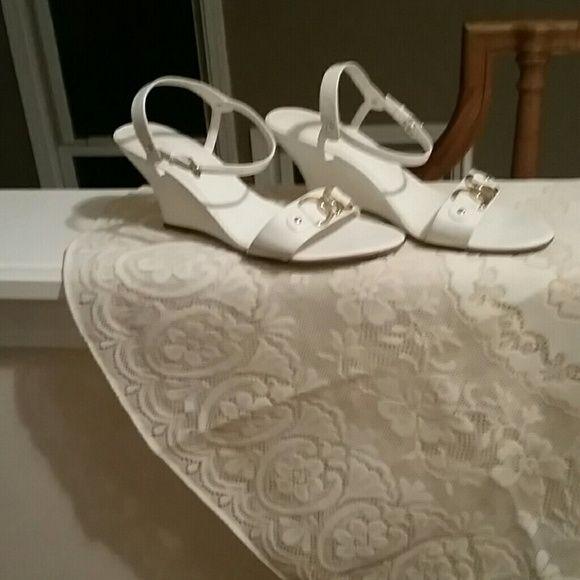 FINAL REDUCTION LOWE WEDGE HEEL White Sandals White wedge heel sandals with gold tone hardware. Low wedge heel. Shoes