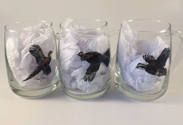 Richard Bishop Upland Gamebirds Bird Glass Beer Mugs (3) Pheasant Grouse Turkey