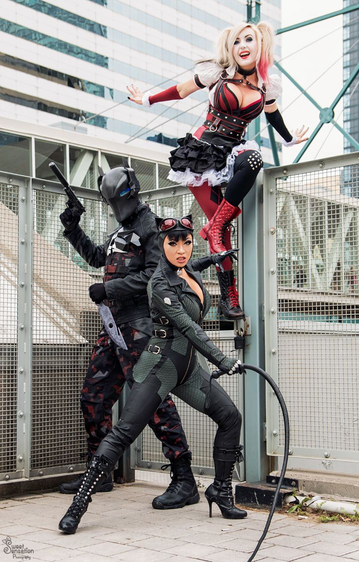 Arkham Knight, Harley Quinn, and Catwoman by EnchantedCupcake, Jessica Nigri, and Yaya Han.