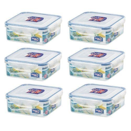 (Pack of 6) LOCK & LOCK Airtight Square Food Storage Container 29.41-oz / 3.68-cup - Lock & Lock are the originators of the 100% air and liquid-tight food storage container concept, with the distinctive snap-down locking hinges and silicone seal which allows your food to stay fresh for longer. The four-hinged lids have each been tested to open and close more than 3 million times,...