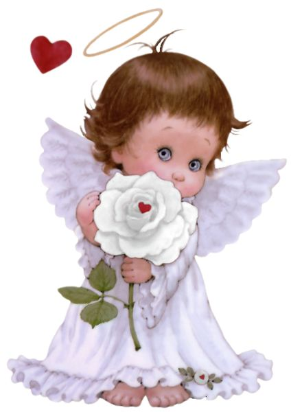BABY ANGEL WITH ROSE