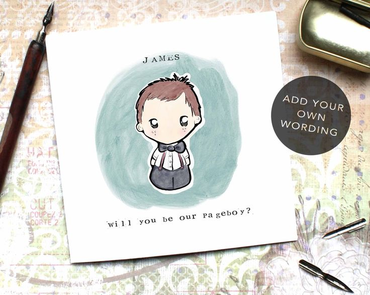 PageBoy Card, Ring Bearer Card, Flowerboy Card, Son Bestman Card, Cute Pageboy Card, Wedding Card, Will you be our Pageboy, Custom Card, CD4 by BEEcardsUK on Etsy