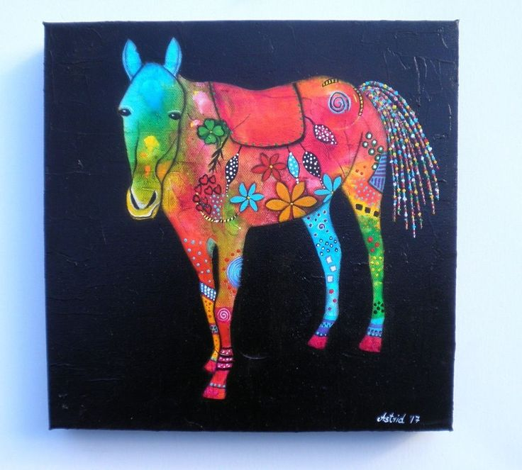Horse-Home Decor-Animal-Child's Nursery-Floral - Original Painting by Astrid #Abstract