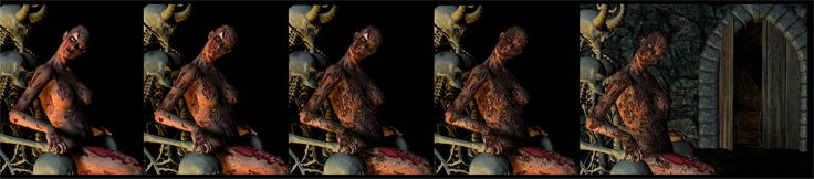 The original Zombie texture for Poser's Victoria, downloaded from a now-defunct website, is shown at the far left, and the finished result at the far right.  The images in between represent the re-working I had to do to get the look I wanted.