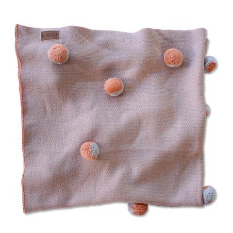 Merino Wool Pom Pom Baby Blanket - Grey & Peach