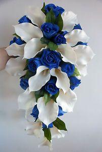 Wedding-Bouquet-Ivory-Latex-Foam-Calla-Lily-Royal-Blue-Roses-Teardrop