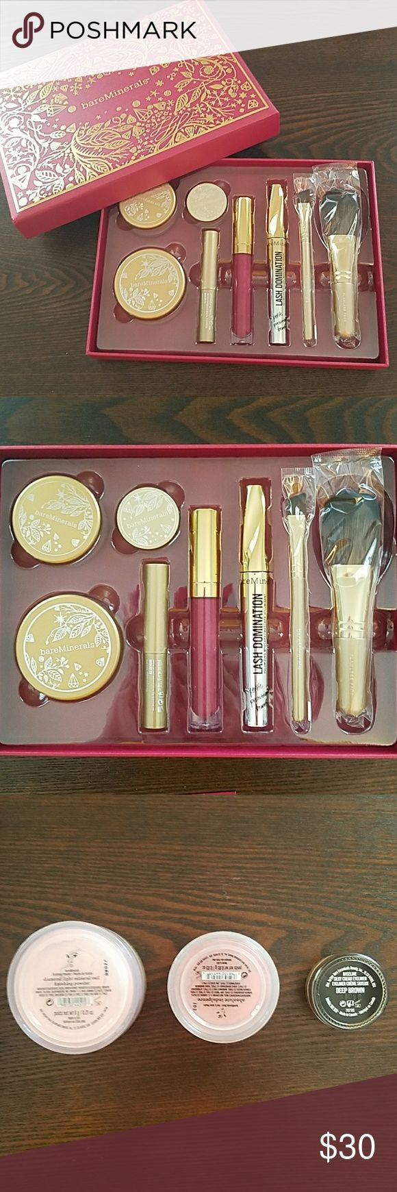 bareMinerals Devine Decadence 8-Piece Collection Brand new in box, never used  Includes- Diamond Light Mineral Veil finishing powder Absolute Indulgence Blush Shadow Quickie Cream Eyeshadow Stick in Pewter Baseline Silky Cream Eyeliner in Deep Brown Lash Domination Volumizing Mascara Petite Precision Brush in Intense Black Marvelous Moxie Lipgloss in Best Dressed Flawless Face Brush Full-Edged Liner Brush  Clean smoke free home bareMinerals Makeup