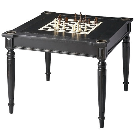 """Very Cool Licorice Multi-Game Card Table, $398.95.   •Product: Multi-game card table  •Construction Material: Basswood and veneers  •Finish: Black  •Features: •Can be used to play variety of games  •Comes with all game pieces, cups, dice and a deck of cards for playing chess, checkers, backgammon, blackjack/card games and cribbage  •Four drink holders on each corner  •Dimensions: 30"""" H x 36"""" W x 36"""" D"""