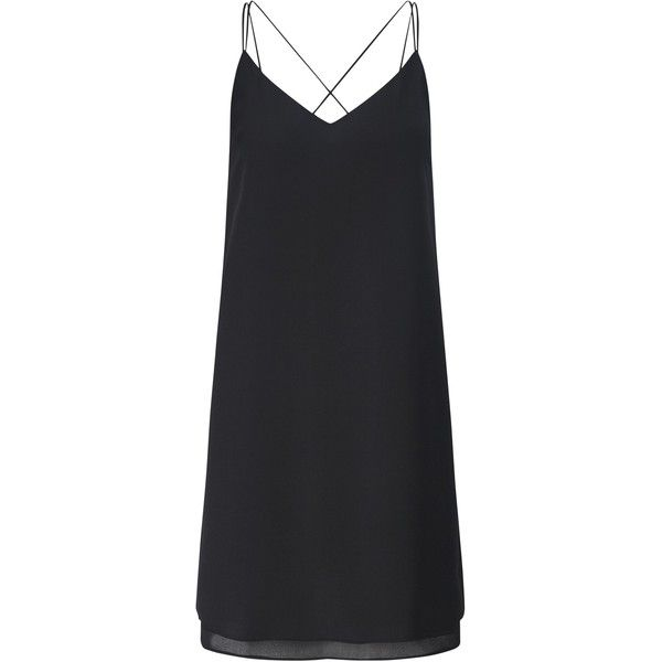 Miss Selfridge Strappy Slip Cami Dress, Black found on Polyvore featuring dresses, vestidos, maxi slip dress, slip dress, long-sleeve mini dress, draped maxi dress and plunging v neck dress