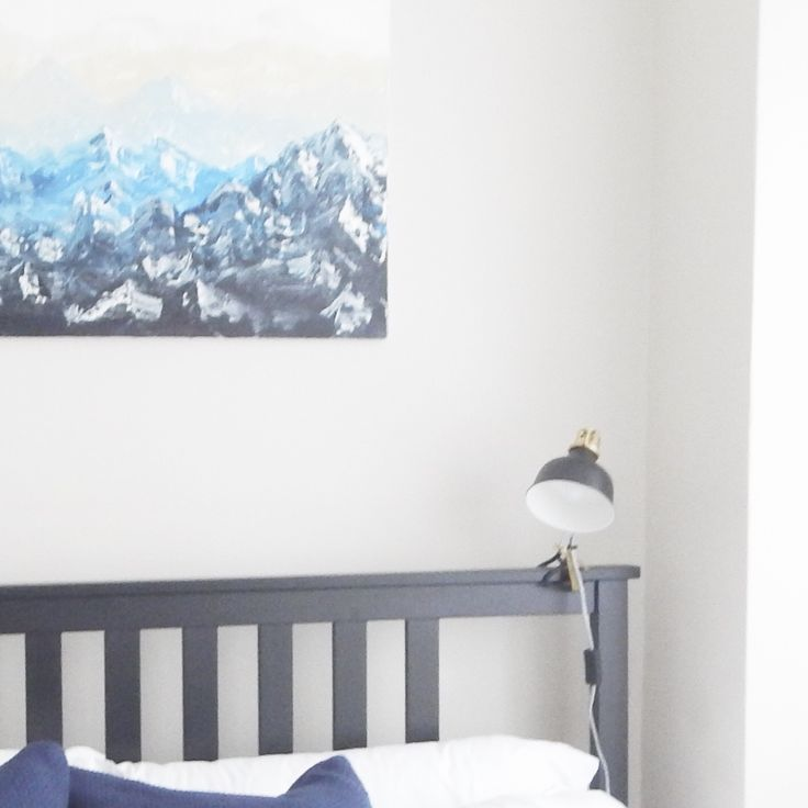 Mountains oil painting wet on wet above IKEA bed frame